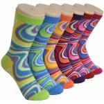 Ladies Crew Socks - EBCY-0163 SWIRL